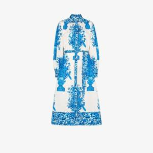 Valentino Womens White Ceramic Print Cotton Shirt Dress