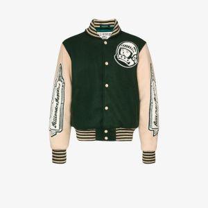 Billionaire Boys Club Mens Green Astro Varsity Bomber Jacket
