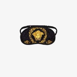 Versace Womens Black Baroque Print Silk Sleep Mask