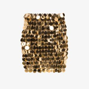 Paco Rabanne Womens Gold Sequin-embellished Mini Skirt