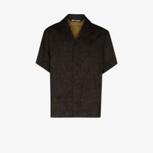 Palm Angels Mens Black Palm Embroidered Bowling Shirt