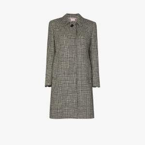 Thom Browne Womens Black Checked Houndstooth Wool Coat