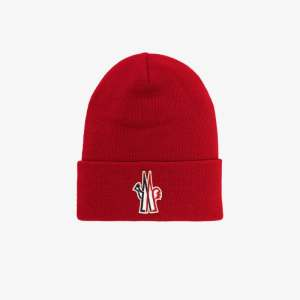 Moncler Grenoble Mens Red Logo Print Wool Beanie Hat