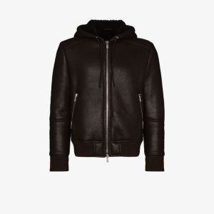 Eleventy Mens Brown Hooded Shearling Leather Jacket