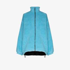 Balenciaga Womens Blue Oversized Faux Shearling Jacket