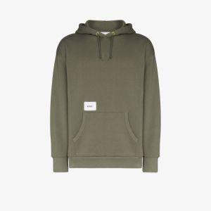 Wtaps Mens Green Logo-print Hoodie