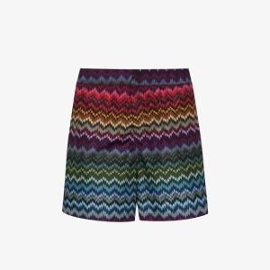 Missoni Mens Purple Zigzag Print Swim Shorts