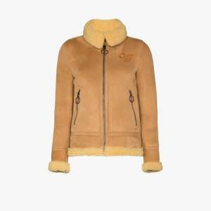 Off-white Womens Brown Aviator Style Suede Shearling Coat