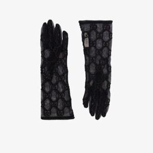 Gucci Womens Black Gg Logo Lace Gloves