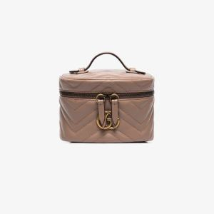 Gucci Womens Neutrals Neutral Marmont Mini Quilted Leather Beauty Case