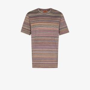 Missoni Mens Purple Stripe Knit Cotton T-shirt
