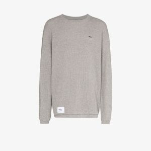 Wtaps Mens Grey Waffle-knit Cotton T-shirt