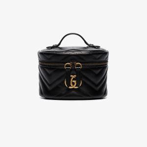 Gucci Womens Black Small Gg Marmont Vanity Bag
