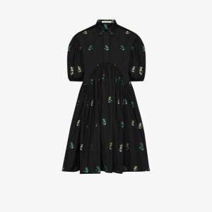 Cecilie Bahnsen Womens Black Esther Floral Puff Sleeve Shirt Dress