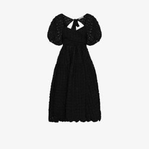 Cecilie Bahnsen Womens Black Maya Puff Sleeve Midi Dress