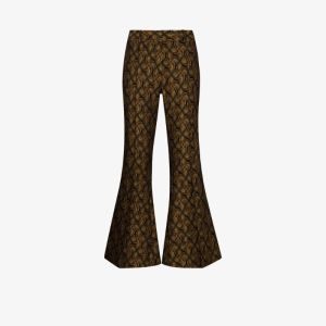 Khaite Womens Black Charles Jacquard Patterned Flared Trousers