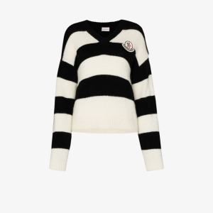 Moncler Womens Black Scollo Striped Wool Sweater