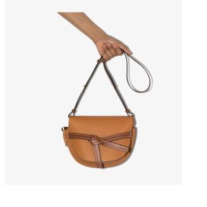 Loewe Womens Brown Small Gate Leather Crossbody Bag