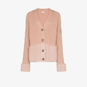 Moncler Womens Pink Colour Block Ribbed Cardigan
