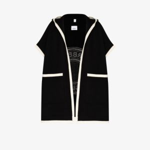 Burberry Womens Black Carla Round Logo Knit Cape