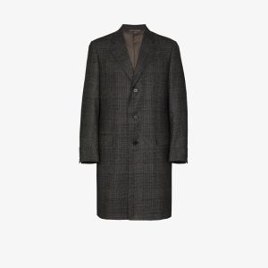 Canali Mens Multicolour Checked Single-breasted Wool Coat