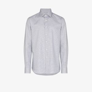 Canali Mens Grey Houndstooth Cotton Shirt