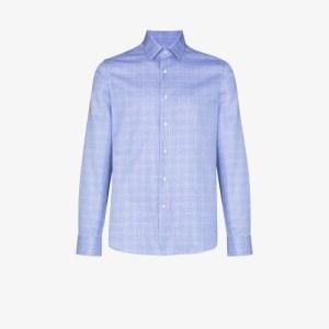 Canali Mens Blue Checked Button-down Shirt