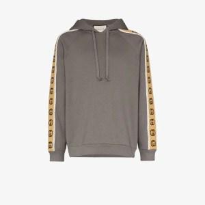 Gucci Mens Grey Logo Tape Hoodie