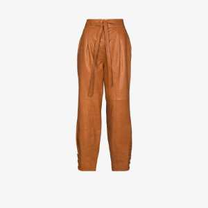 Ulla Johnson Womens Brown Navona Belted Leather Trousers