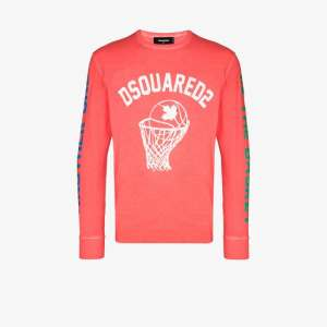 Dsquared2 Mens Pink Basketball Logo Long Sleeve T-shirt