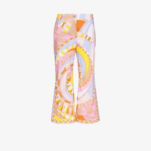 Emilio Pucci Womens Multicolour Wally Print Cropped Flared Trousers