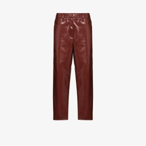 Tibi Womens Brown Cropped Patent Trousers