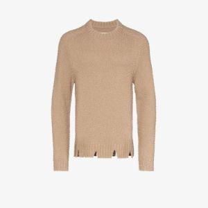 Maison Margiela Mens Brown Distressed Wool Jumper