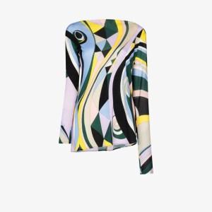 Emilio Pucci Womens Yellow Occhi Print Asymmetric Top