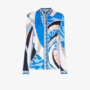Emilio Pucci Womens Blue Wally Print Shirt