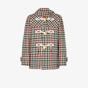Jw Anderson Mens Green Checked Duffle Coat