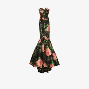 Richard Quinn Womens Multicolour Floral Polka-dot Print Mermaid-fit Gown