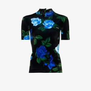 Richard Quinn Womens Blue Floral Velvet Top