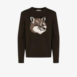 Maison Kitsuné Mens Green Fox Head Intarsia Wool Sweater