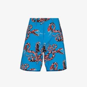Neighborhood Mens Blue Rattlesnake Print Bermuda Shorts
