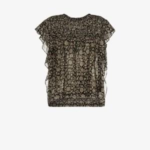 Isabel Marant étoile Womens Black Layona Floral Print Cotton Blouse