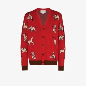 Gucci Mens Red Hawaii Animal Pattern Cardigan