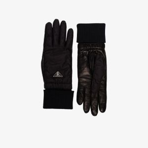 Prada Womens Black Reversible Cashmere And Leather Gloves