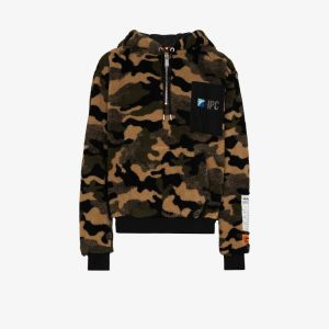 Heron Preston Mens Multicolour Camouflage-print Fleece Hoodie