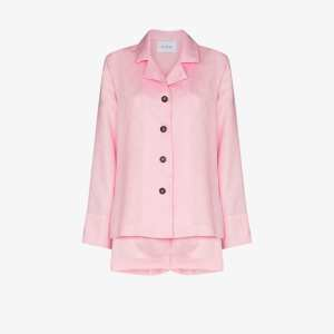 Sleeper Womens Pink Buttoned Linen Pyjamas