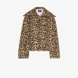Duoltd Mens Black Cheetah Print Zipped Jacket