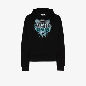 Kenzo Mens Black Tiger Logo-embroidered Hoodie