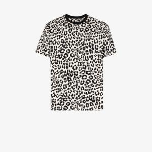 Kenzo Mens White Leopard Print Cotton T-shirt