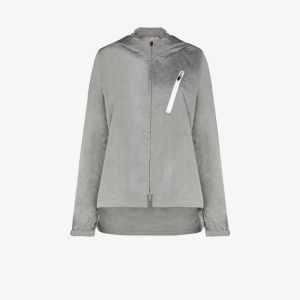 Y-3 Womens Grey Ch1 Hooded Shell Logo Jacket