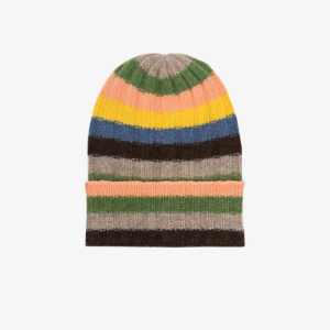 The Elder Statesman Mens Multicoloured Bunny Echo Beanie Hat